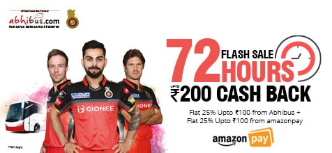 72hrs Flash Sale - Get Flat 25% Max Rs.100 cash back from abhibus.
