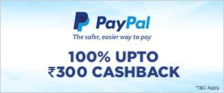 100% Upto Rs.300 Cashback from PayPal