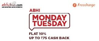 Abhi Monday & Tuesday - Upto Rs.75 Cash Back using Freecharge