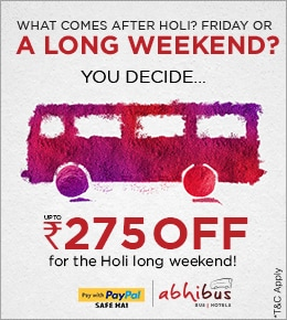 Holi Long Weekend Sale - Get Upto Rs.275 Off on Bus Booking using PayPal