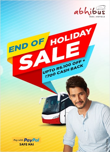 End of Holiday Sale - Upto Rs.100 Off + Rs.700 Cash Back on Bus Booking using PayPal