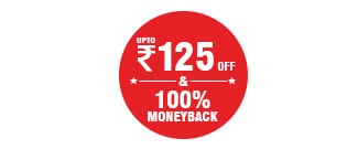 Upto Rs.125 Discount & Flat 100% Money Back